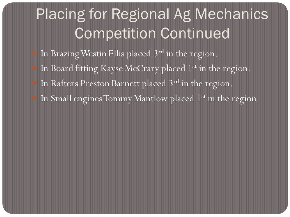 Also this year the Jo Byrns FFA Placed 4 th in the Regional Ag. Mechanics Competition. In Land Surveying Lee Bagwell and Coby Traughber placed 3 rd in