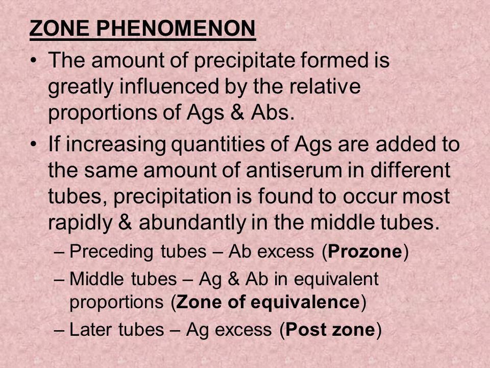 ZONE PHENOMENON The amount of precipitate formed is greatly influenced by the relative proportions of Ags & Abs. If increasing quantities of Ags are a