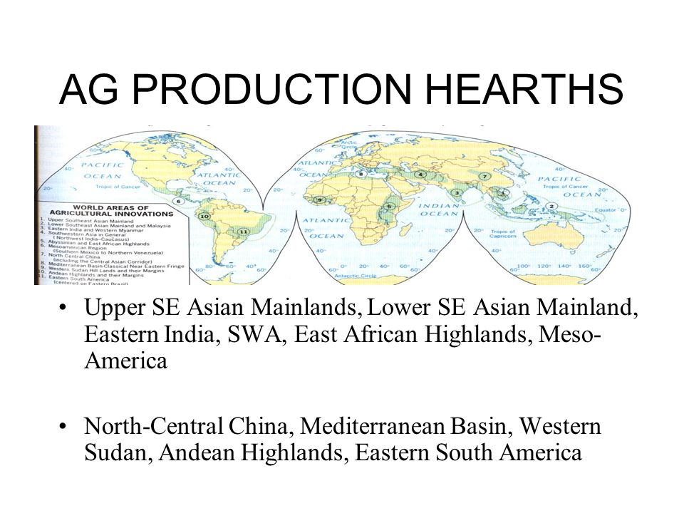 AG PRODUCTION HEARTHS Upper SE Asian Mainlands, Lower SE Asian Mainland, Eastern India, SWA, East African Highlands, Meso- America North-Central China, Mediterranean Basin, Western Sudan, Andean Highlands, Eastern South America
