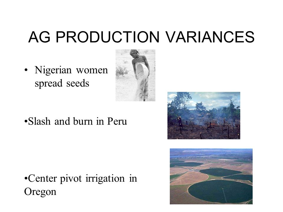 AG PRODUCTION VARIANCES Nigerian women spread seeds Slash and burn in Peru Center pivot irrigation in Oregon