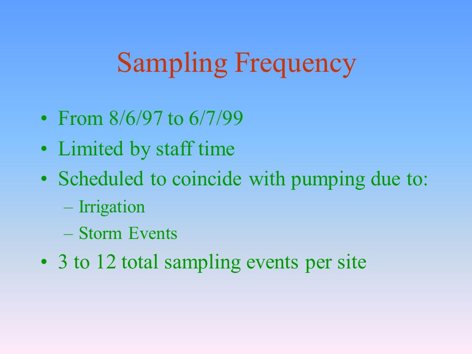 Sampling Frequency From 8/6/97 to 6/7/99 Limited by staff time Scheduled to coincide with pumping due to: –Irrigation –Storm Events 3 to 12 total sampling events per site