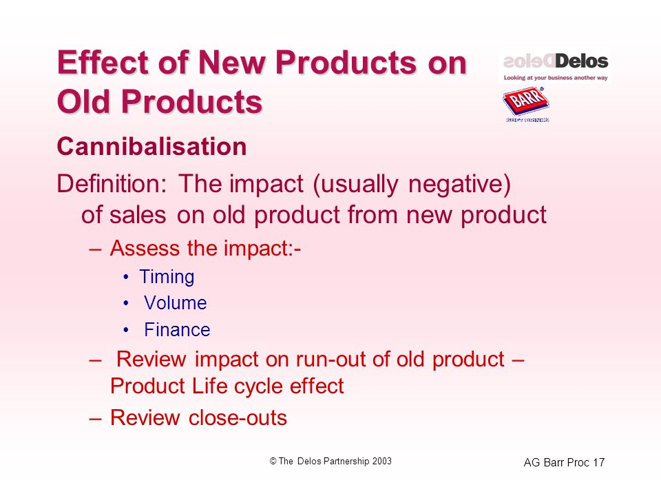 AG Barr Proc 17 © The Delos Partnership 2003 Effect of New Products on Old Products Cannibalisation Definition: The impact (usually negative) of sales on old product from new product –Assess the impact:- Timing Volume Finance – Review impact on run-out of old product – Product Life cycle effect –Review close-outs