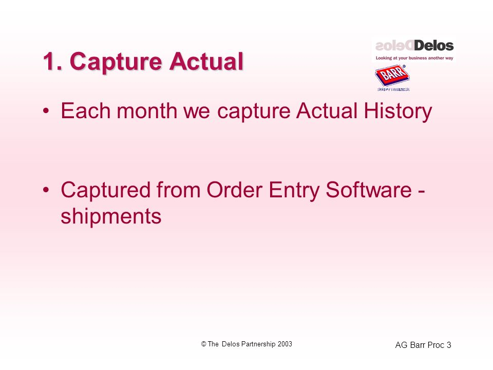 AG Barr Proc 3 © The Delos Partnership 2003 1. Capture Actual Each month we capture Actual History Captured from Order Entry Software - shipments