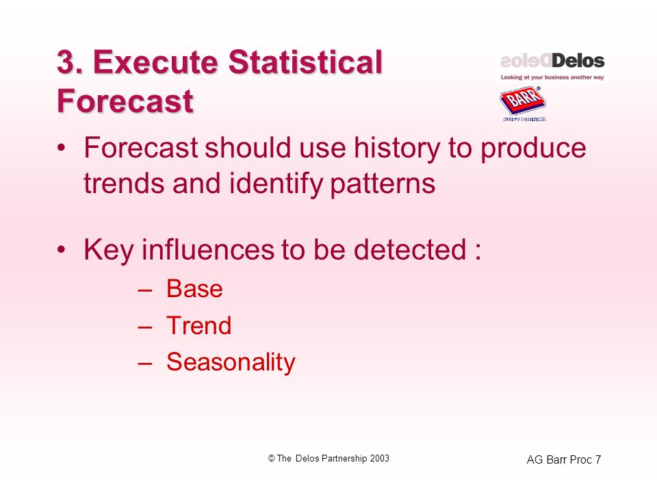 AG Barr Proc 7 © The Delos Partnership 2003 3. Execute Statistical Forecast Forecast should use history to produce trends and identify patterns Key in