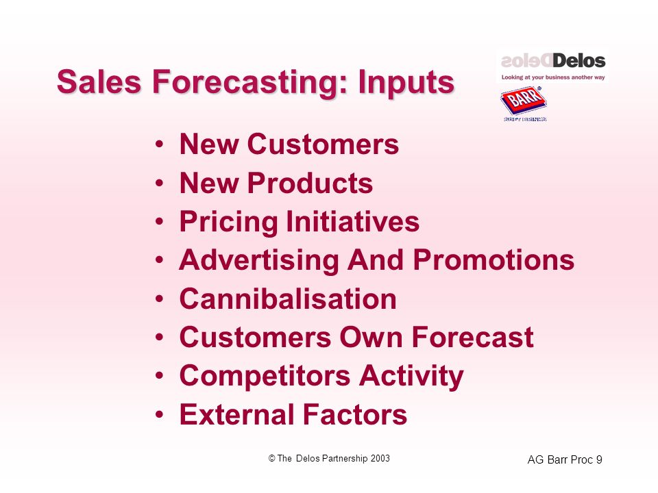 AG Barr Proc 10 © The Delos Partnership 2003 Sales Forecasting: Inputs New Customers New Products Pricing Initiatives Advertising And Promotions Cannibalisation Customers Own Forecast Competitors Activity External Factors Marketing Plans