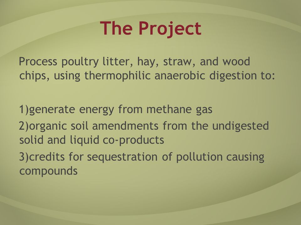 The Project Process poultry litter, hay, straw, and wood chips, using thermophilic anaerobic digestion to: 1) generate energy from methane gas 2) organic soil amendments from the undigested solid and liquid co-products 3) credits for sequestration of pollution causing compounds