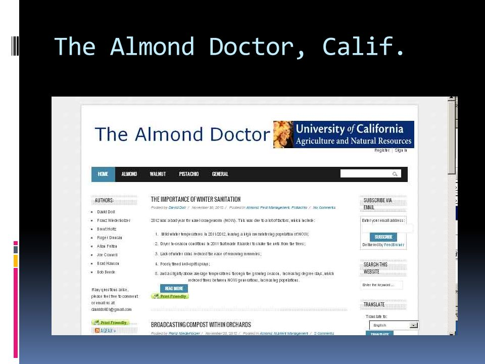 The Almond Doctor, Calif.