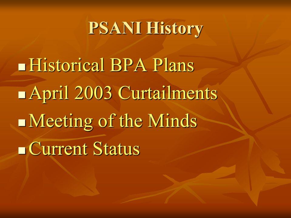 PSANI History Historical BPA Plans Historical BPA Plans April 2003 Curtailments April 2003 Curtailments Meeting of the Minds Meeting of the Minds Curr