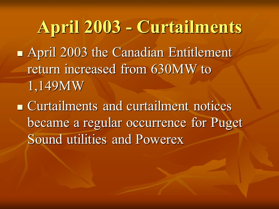 April 2003 - Curtailments April 2003 the Canadian Entitlement return increased from 630MW to 1,149MW April 2003 the Canadian Entitlement return increa