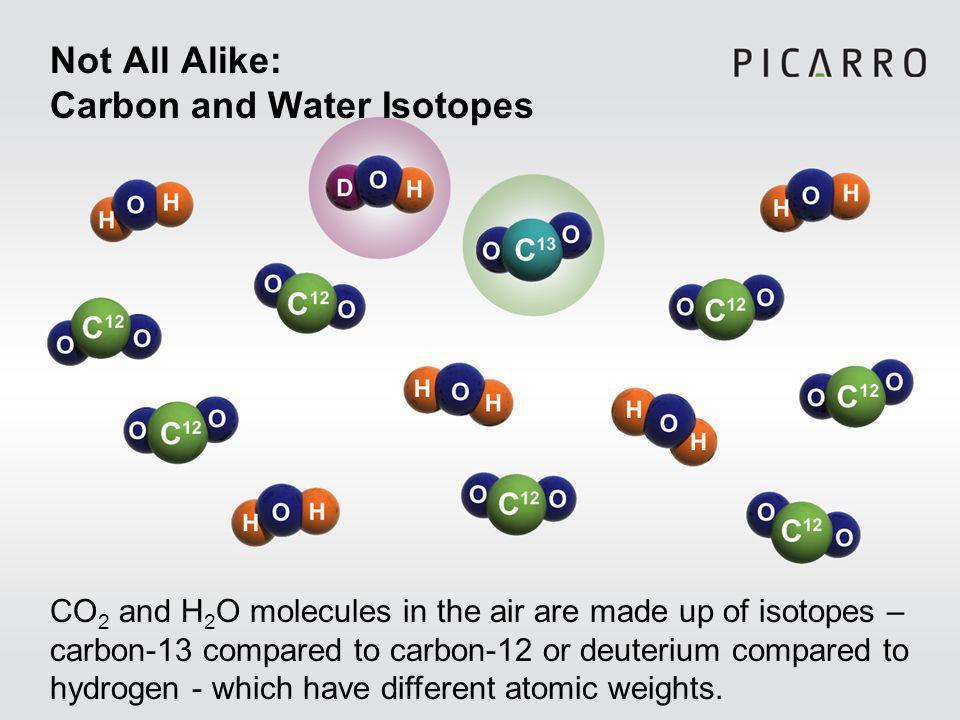 Not All Alike: Carbon and Water Isotopes CO 2 and H 2 O molecules in the air are made up of isotopes – carbon-13 compared to carbon-12 or deuterium compared to hydrogen - which have different atomic weights.