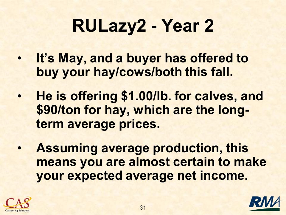 31 Its May, and a buyer has offered to buy your hay/cows/both this fall.