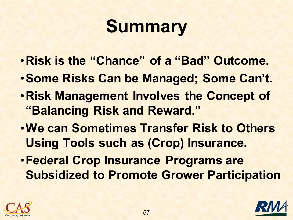 57 Summary Risk is the Chance of a Bad Outcome. Some Risks Can be Managed; Some Cant.