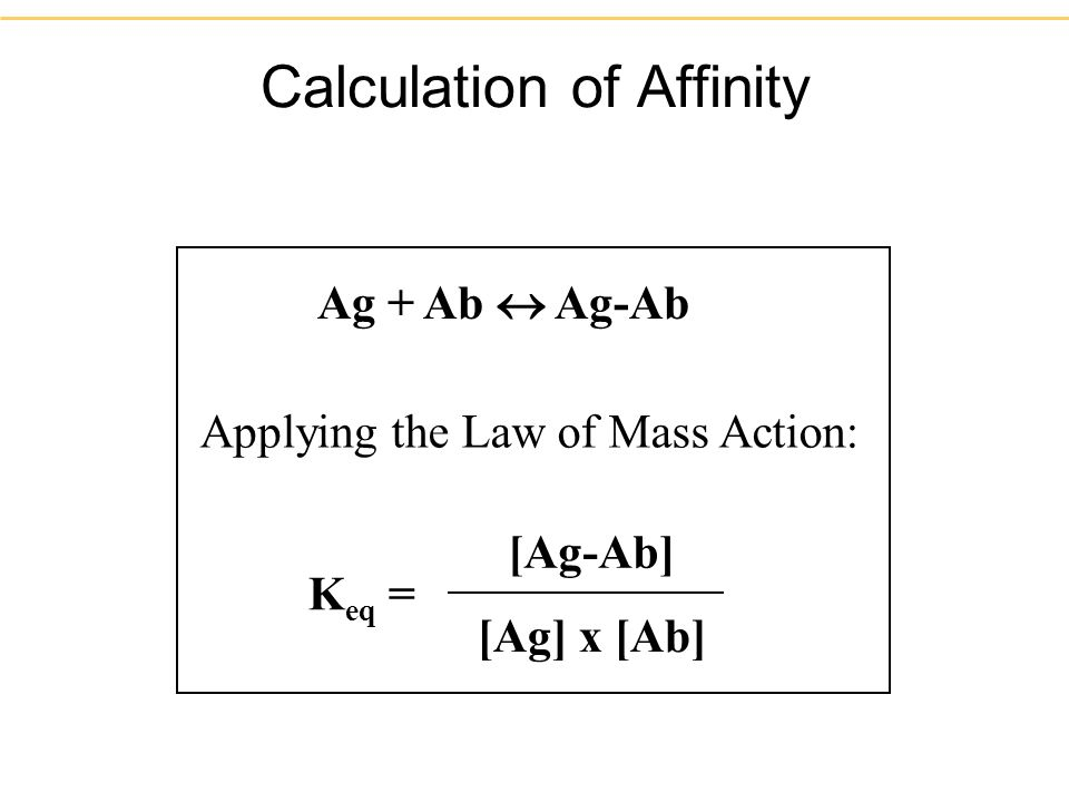 Calculation of Affinity Ag + Ab Ag-Ab K eq = [Ag-Ab] [Ag] x [Ab] Applying the Law of Mass Action: