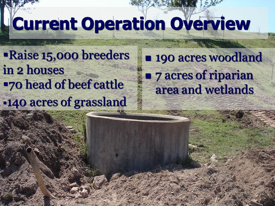 Current Operation Overview 190 acres woodland 190 acres woodland 7 acres of riparian area and wetlands 7 acres of riparian area and wetlands Raise 15,