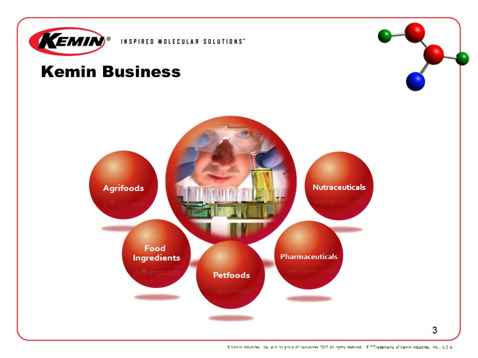 © Kemin Industries, Inc. and its group of companies 2010 All rights reserved. ® Trademarks of Kemin Industries, Inc., U.S.A. 3 KEMIN Kemin Business 1/