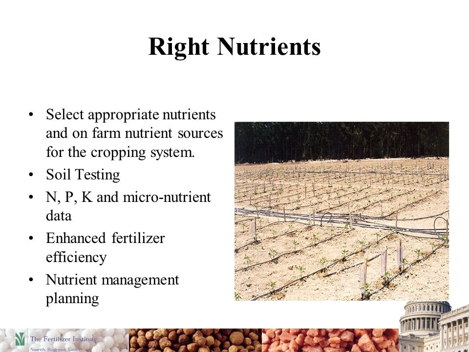 Right Nutrients Select appropriate nutrients and on farm nutrient sources for the cropping system. Soil Testing N, P, K and micro-nutrient data Enhanc