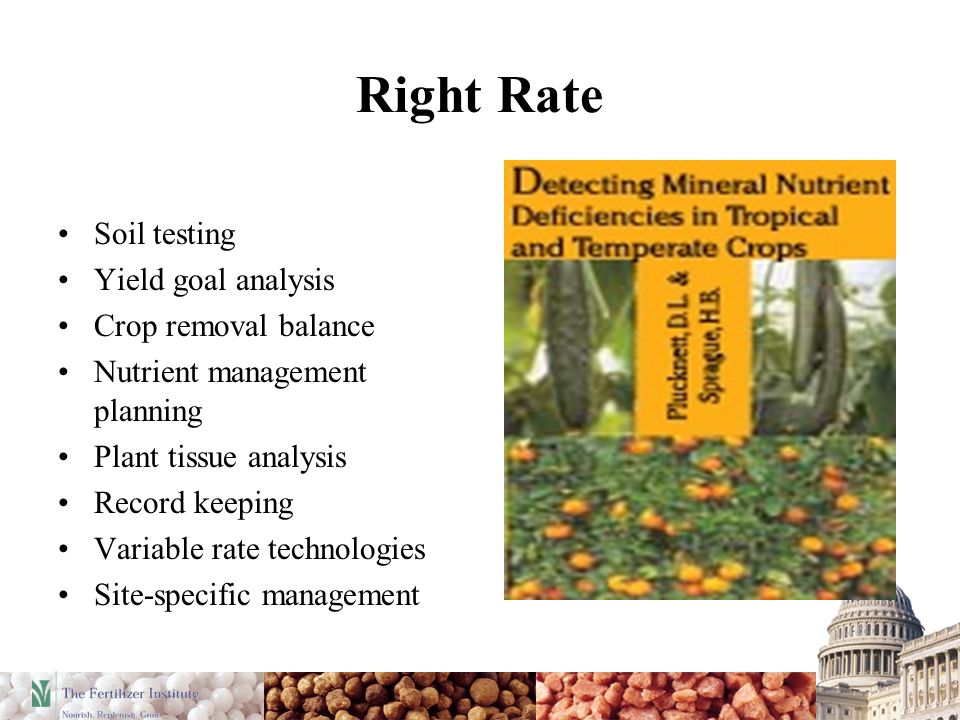 Right Rate Soil testing Yield goal analysis Crop removal balance Nutrient management planning Plant tissue analysis Record keeping Variable rate techn