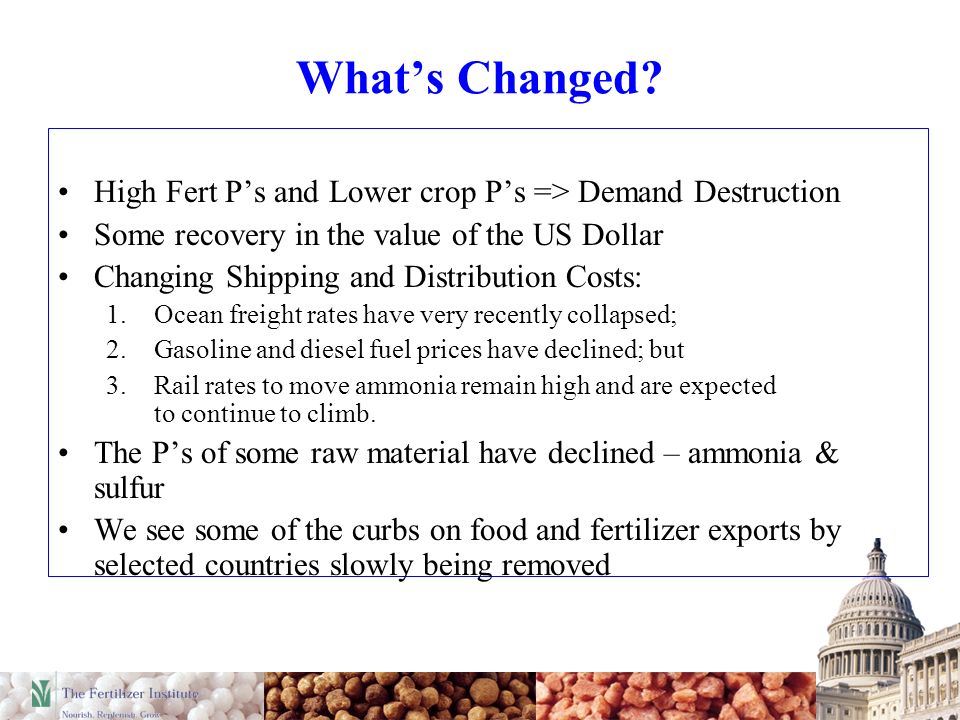 Whats Changed? High Fert Ps and Lower crop Ps => Demand Destruction Some recovery in the value of the US Dollar Changing Shipping and Distribution Cos