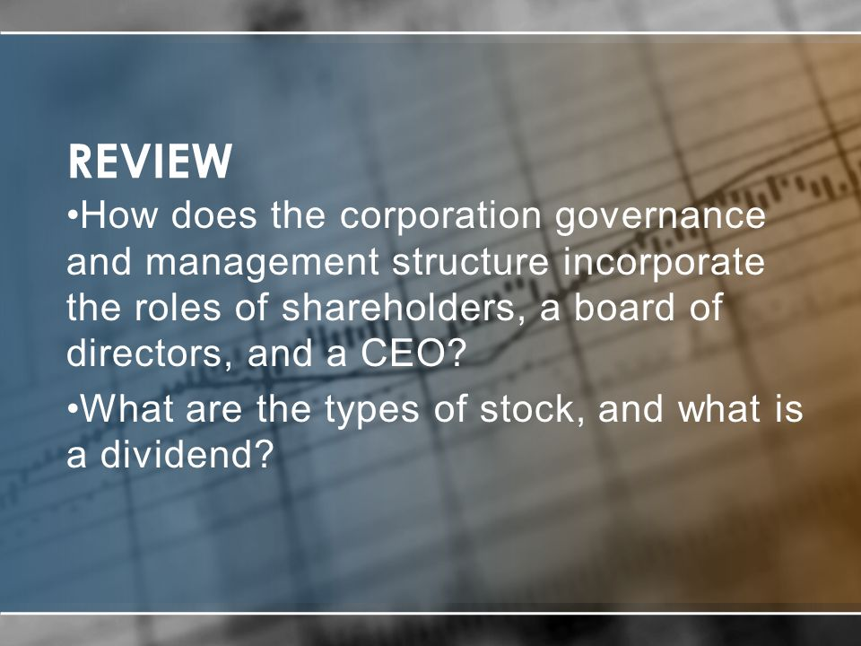 REVIEW How does the corporation governance and management structure incorporate the roles of shareholders, a board of directors, and a CEO.