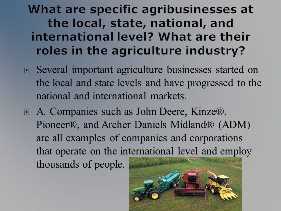 Several important agriculture businesses started on the local and state levels and have progressed to the national and international markets.