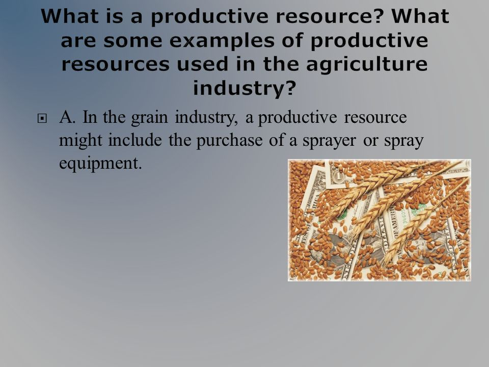 A. In the grain industry, a productive resource might include the purchase of a sprayer or spray equipment.
