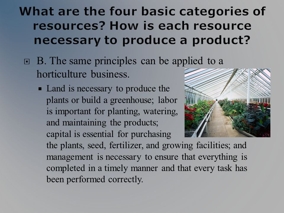 B. The same principles can be applied to a horticulture business.