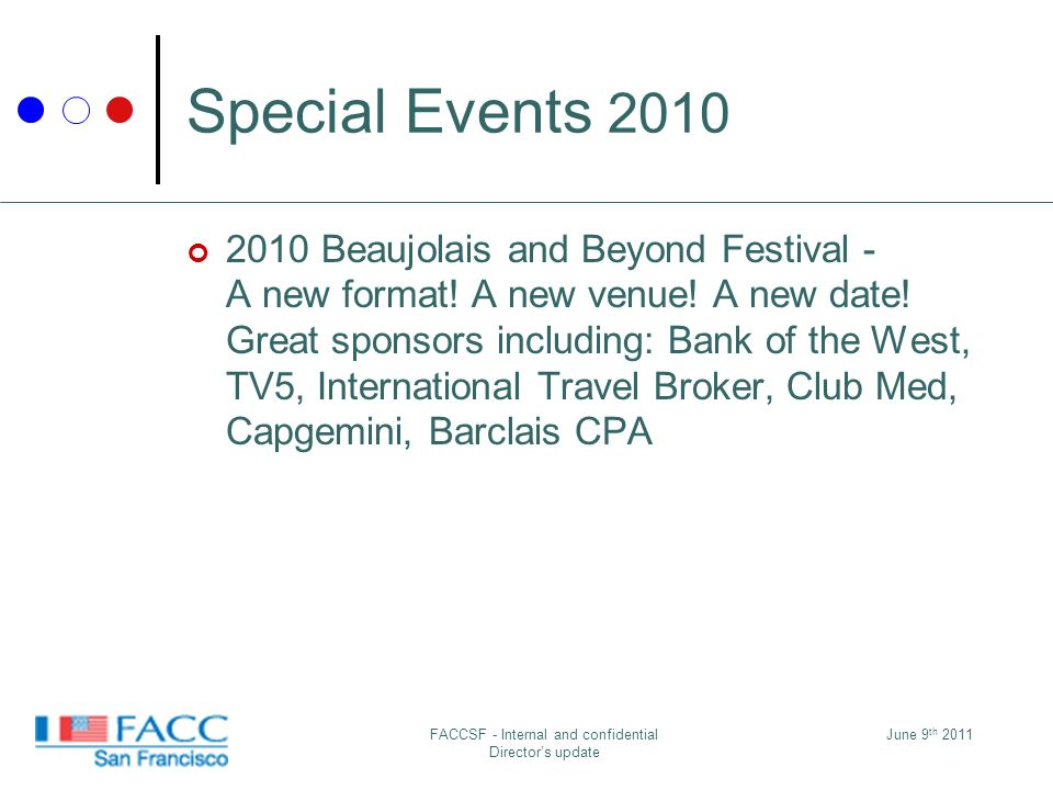 June 9 th 2011FACCSF - Internal and confidential Directors update Special Events 2010 2010 Beaujolais and Beyond Festival - A new format.