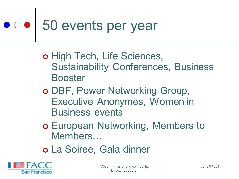 50 events per year High Tech, Life Sciences, Sustainability Conferences, Business Booster DBF, Power Networking Group, Executive Anonymes, Women in Business events European Networking, Members to Members… La Soiree, Gala dinner June 9 th 2011FACCSF - Internal and confidential Directors update