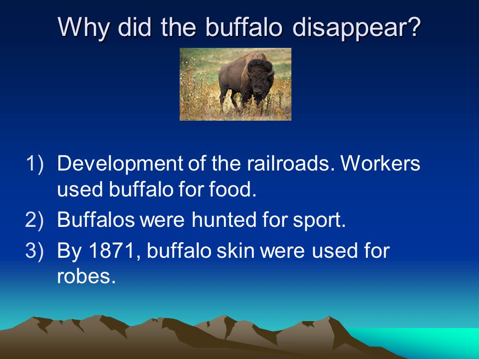 Why did the buffalo disappear? 1)Development of the railroads. Workers used buffalo for food. 2)Buffalos were hunted for sport. 3)By 1871, buffalo ski