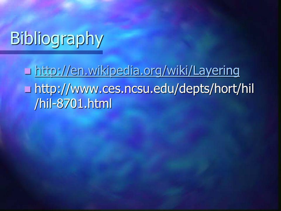 Bibliography http://en.wikipedia.org/wiki/Layering http://en.wikipedia.org/wiki/Layering http://en.wikipedia.org/wiki/Layering http://www.ces.ncsu.edu