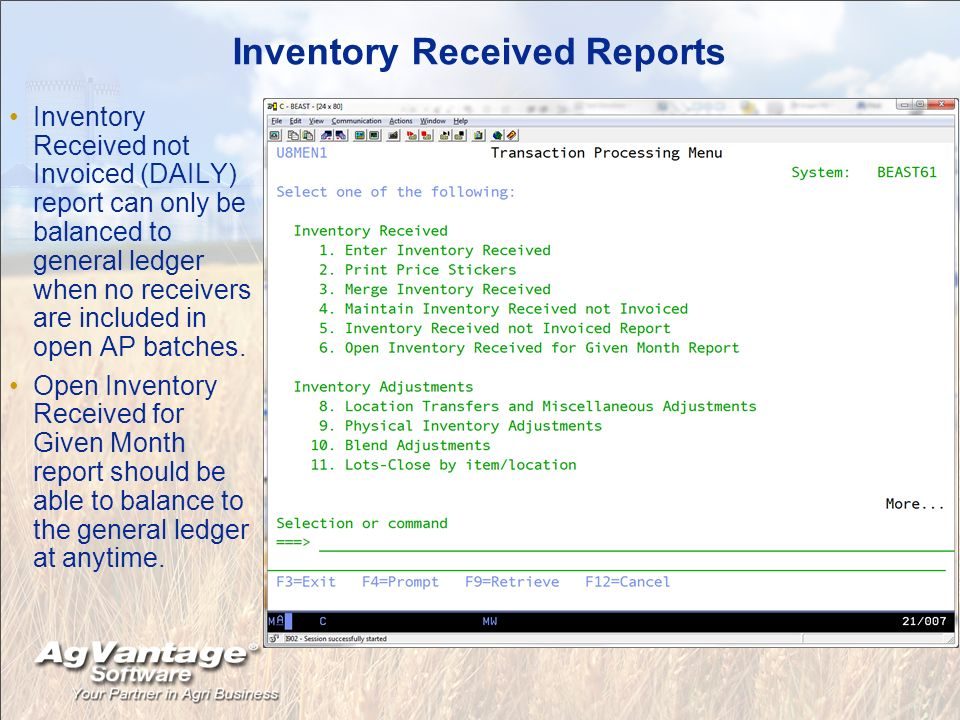 Inventory Received Reports Inventory Received not Invoiced (DAILY) report can only be balanced to general ledger when no receivers are included in open AP batches.