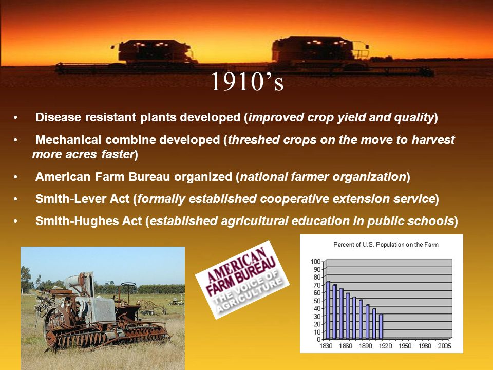 1910s Disease resistant plants developed (improved crop yield and quality) Mechanical combine developed (threshed crops on the move to harvest more ac