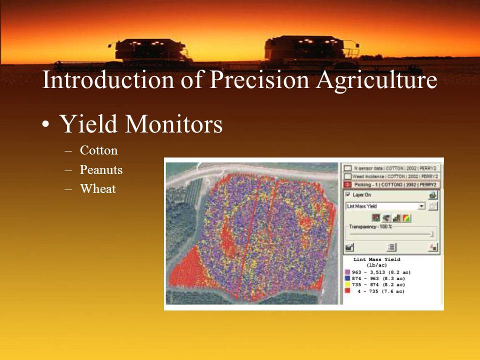 Introduction of Precision Agriculture Yield Monitors –Cotton –Peanuts –Wheat