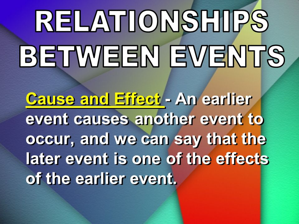 Cause and Effect - An earlier event causes another event to occur, and we can say that the later event is one of the effects of the earlier event.