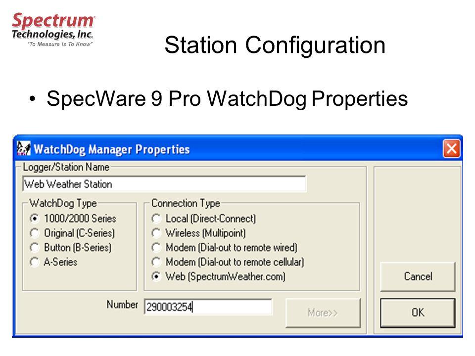 Station Configuration SpecWare 9 Pro WatchDog Properties