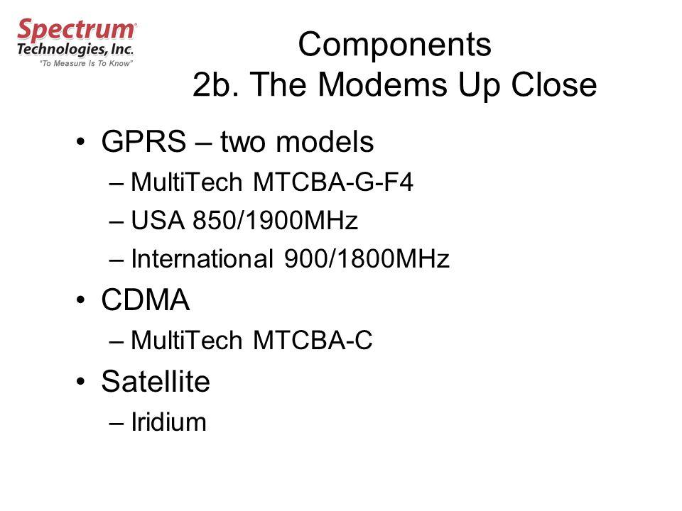 Components 2b. The Modems Up Close GPRS – two models –MultiTech MTCBA-G-F4 –USA 850/1900MHz –International 900/1800MHz CDMA –MultiTech MTCBA-C Satelli