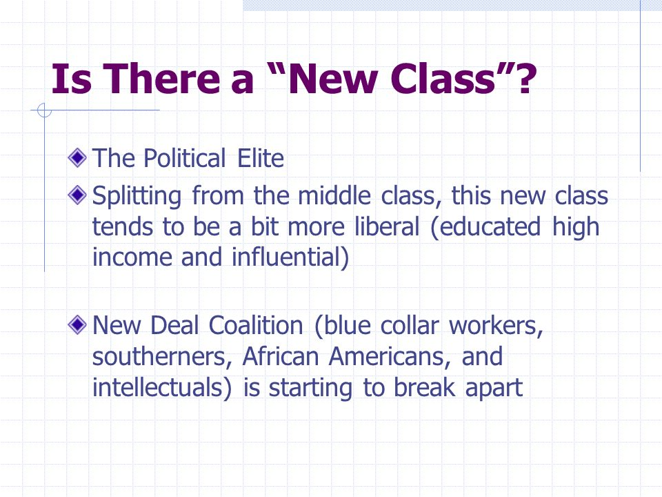 Is There a New Class? The Political Elite Splitting from the middle class, this new class tends to be a bit more liberal (educated high income and inf