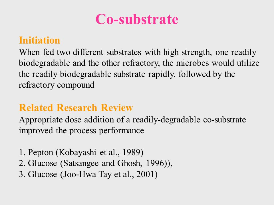 Co-substrate Initiation When fed two different substrates with high strength, one readily biodegradable and the other refractory, the microbes would utilize the readily biodegradable substrate rapidly, followed by the refractory compound Related Research Review Appropriate dose addition of a readily-degradable co-substrate improved the process performance 1.
