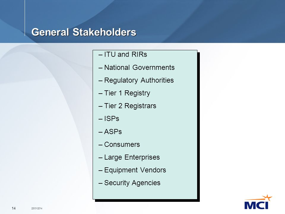 23/01/2014 14 General Stakeholders –ITU and RIRs –National Governments –Regulatory Authorities –Tier 1 Registry –Tier 2 Registrars –ISPs –ASPs –Consum