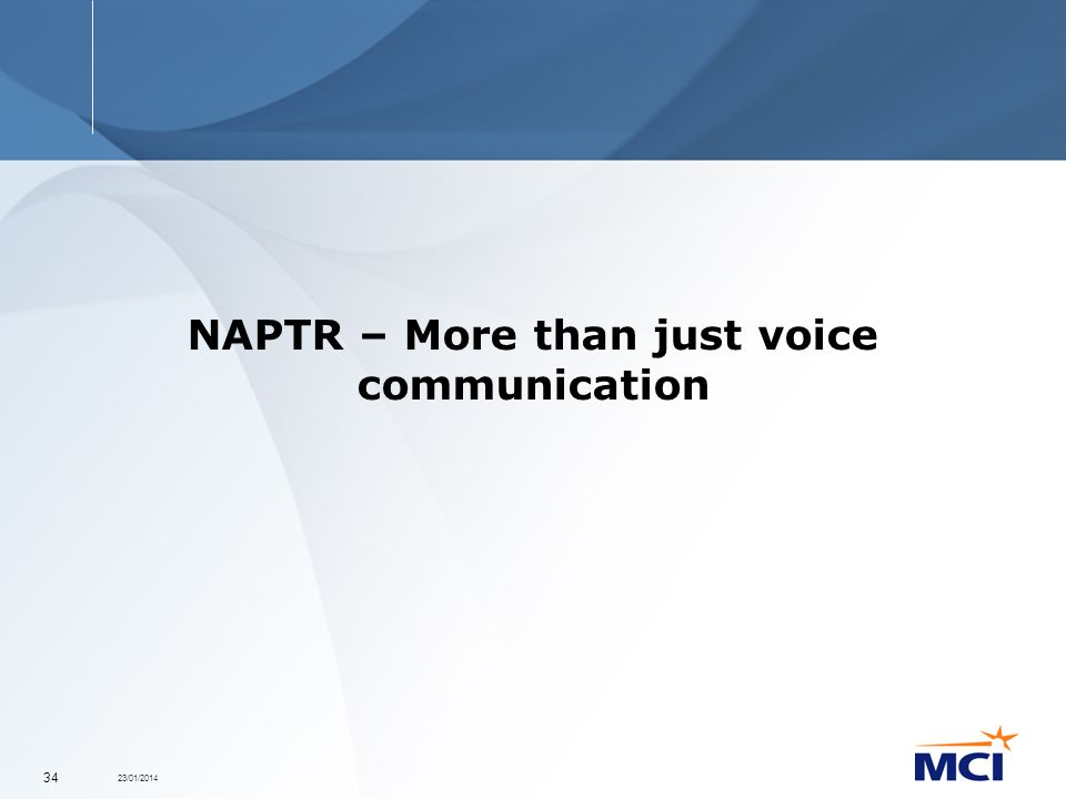 23/01/2014 34 NAPTR – More than just voice communication