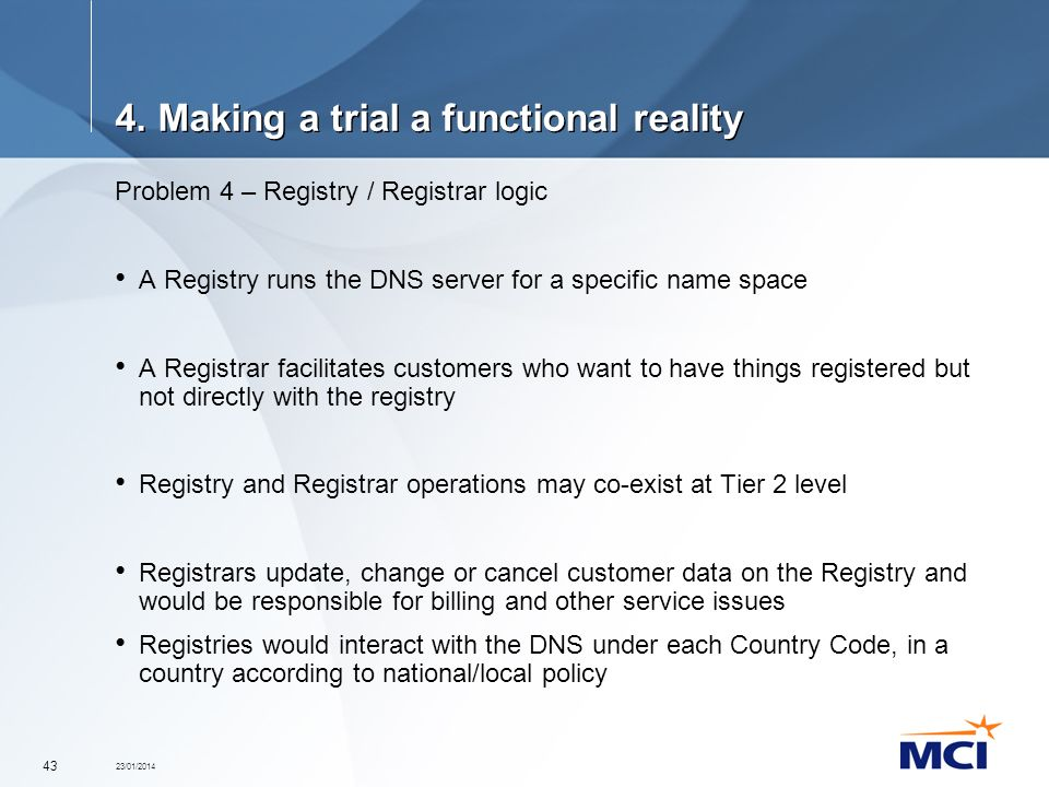 23/01/2014 43 4. Making a trial a functional reality Problem 4 – Registry / Registrar logic A Registry runs the DNS server for a specific name space A