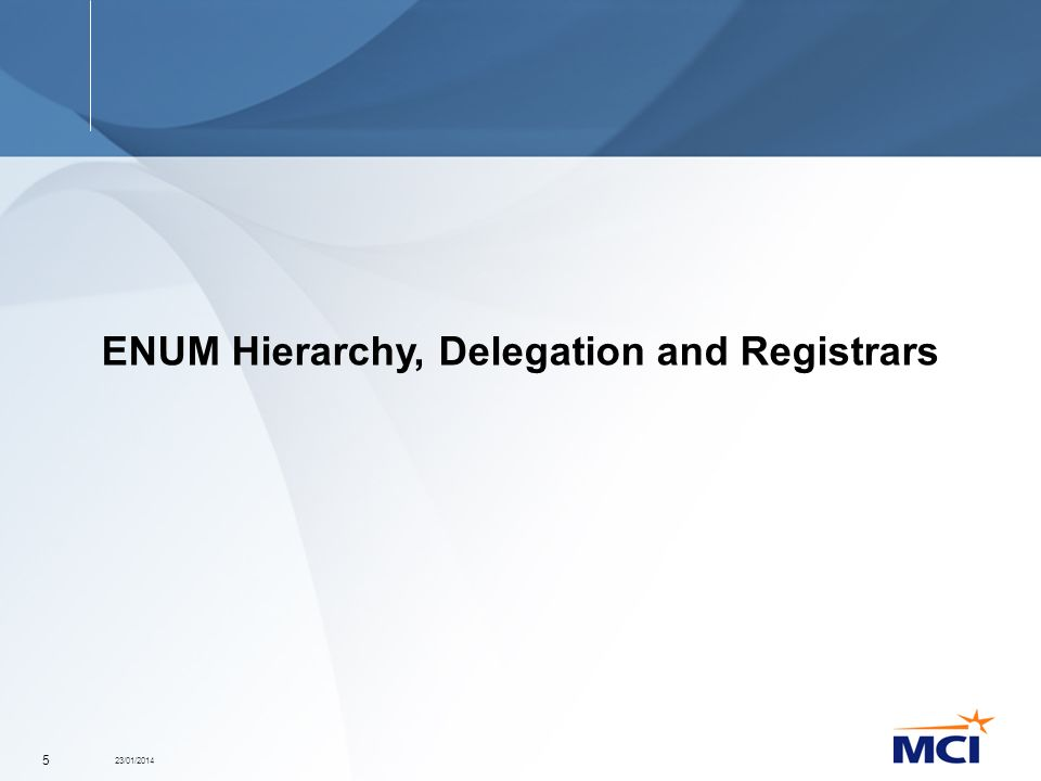 23/01/2014 5 ENUM Hierarchy, Delegation and Registrars