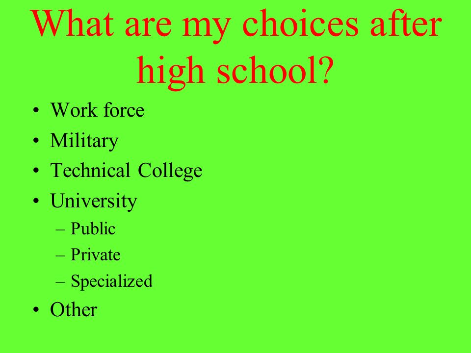 What are my choices after high school.