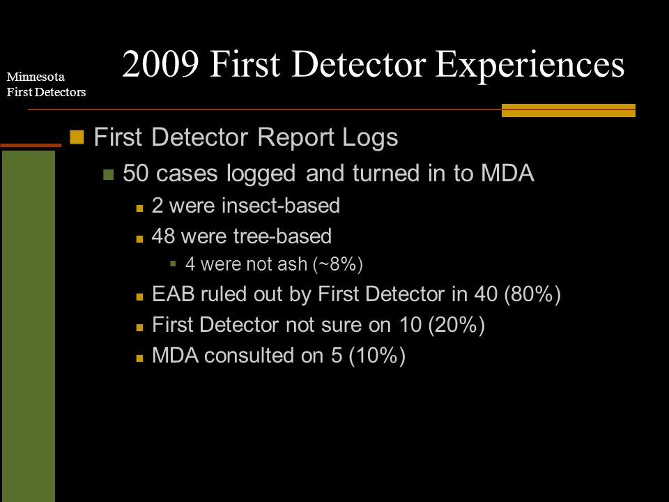 Minnesota First Detectors 2009 First Detector Experiences Bronze birch borer First Detector Report Logs 50 cases logged and turned in to MDA 2 were insect-based 48 were tree-based 4 were not ash (~8%) EAB ruled out by First Detector in 40 (80%) First Detector not sure on 10 (20%) MDA consulted on 5 (10%)