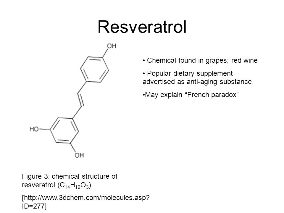Resveratrol Figure 3: chemical structure of resveratrol (C 14 H 12 O 3 ) [http://www.3dchem.com/molecules.asp? ID=277] Chemical found in grapes; red w