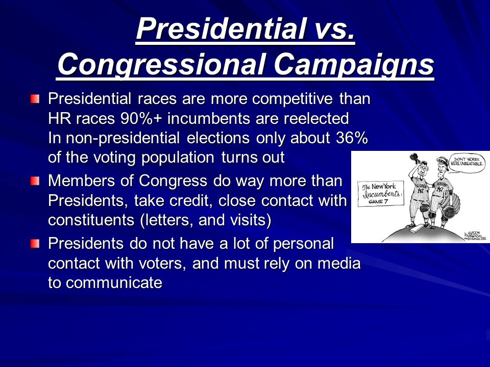 Presidential vs. Congressional Campaigns Presidential races are more competitive than HR races 90%+ incumbents are reelected In non-presidential elect