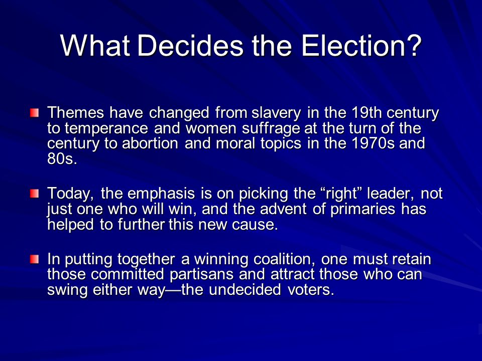 What Decides the Election? Themes have changed from slavery in the 19th century to temperance and women suffrage at the turn of the century to abortio