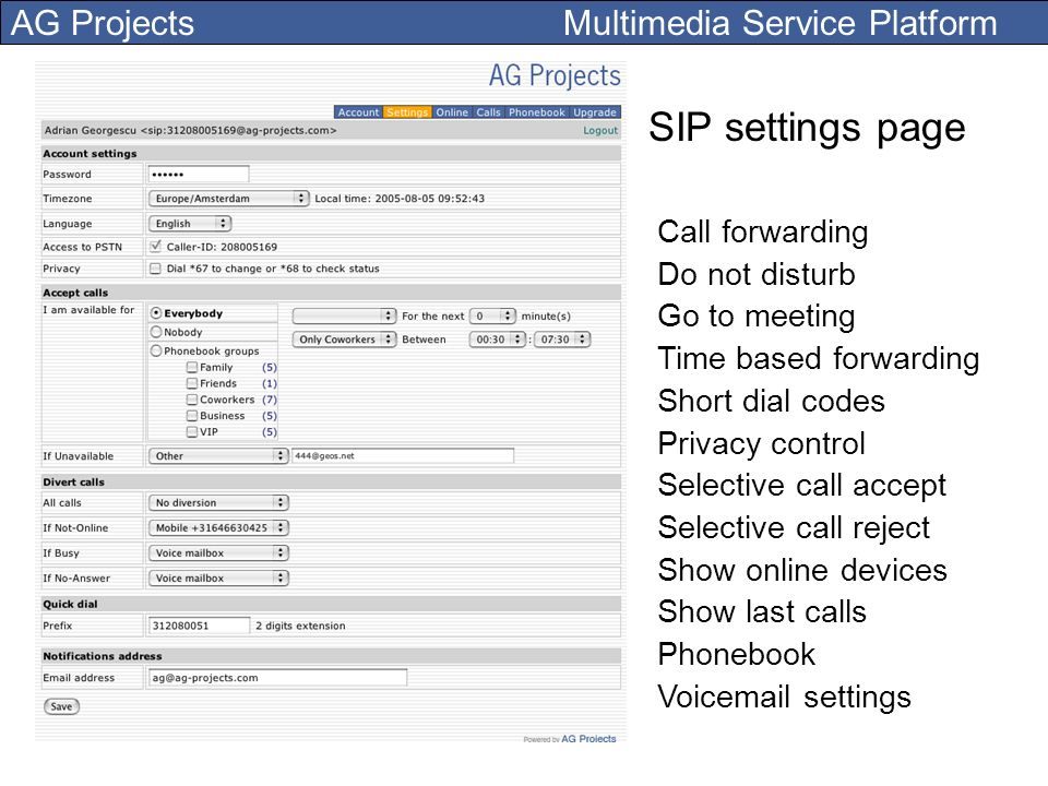 AG Projects Multimedia Service Platform SIP settings page Call forwarding Do not disturb Go to meeting Time based forwarding Short dial codes Privacy