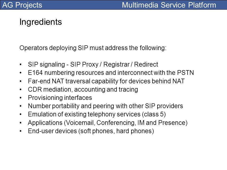AG Projects Multimedia Service Platform Ingredients Operators deploying SIP must address the following: SIP signaling - SIP Proxy / Registrar / Redire