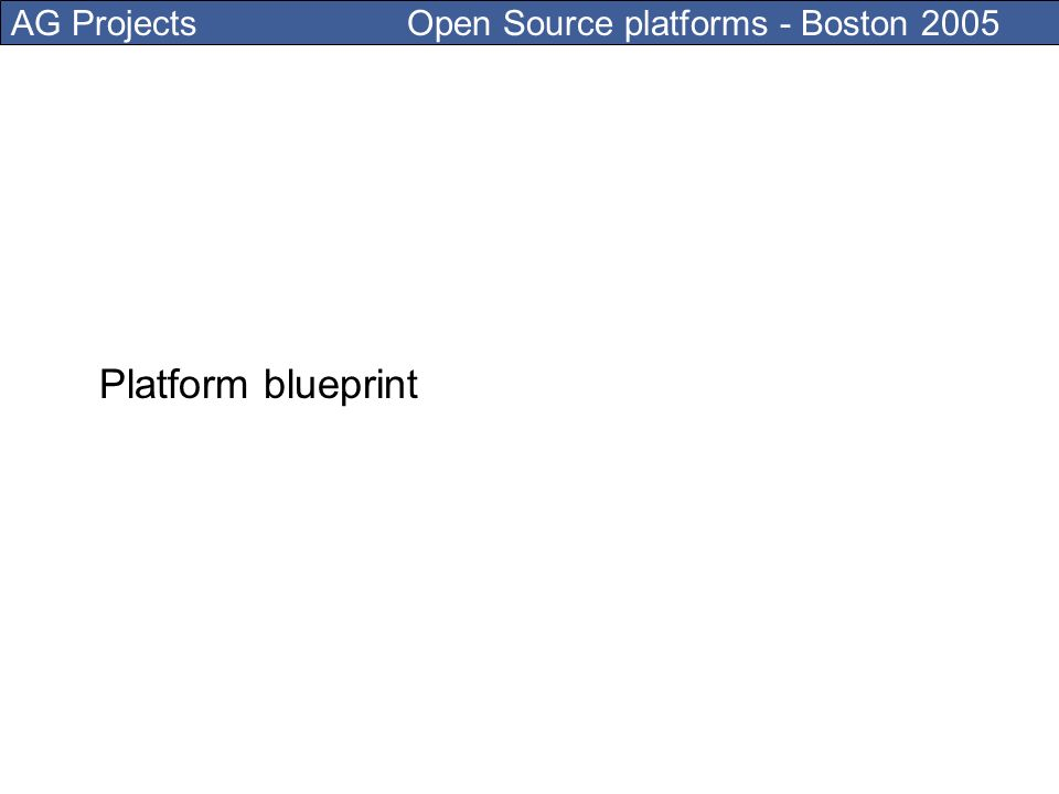 AG Projects Open Source platforms - Boston 2005 Platform blueprint
